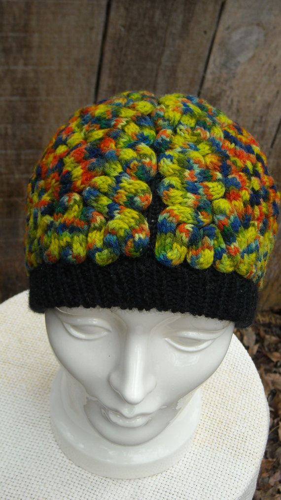 Brain Hat Multi-colored, costume, warm wool funky cap knitted hand-dyed yarn