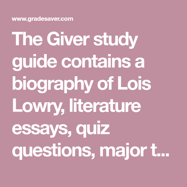 Essay questions for the giver