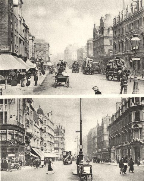 LONDON/TOWNS: A Crossing in Oxford street on either side of forty years; Vintage photographic book illustration, 1926; approximate size 21.5 x 17.0cm, 8.5 x 6.75 inches