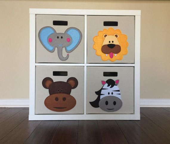 Kids Jungle Animal Storage Bin Set, 4, Jungle Nursery, Jungle Nursery  Decor, Kids Zoo Animals, Kids Safari, Baby Boy Decor, Baby Room Decor