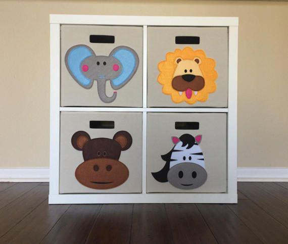 Great For Your Ikea Kallax Or Expedit Shelf Kids Storage Bin 13 Set Of 4 Zoo Nursery Kids Zoo Kids Storage Bins Kallax Kids Room Kids Room Art
