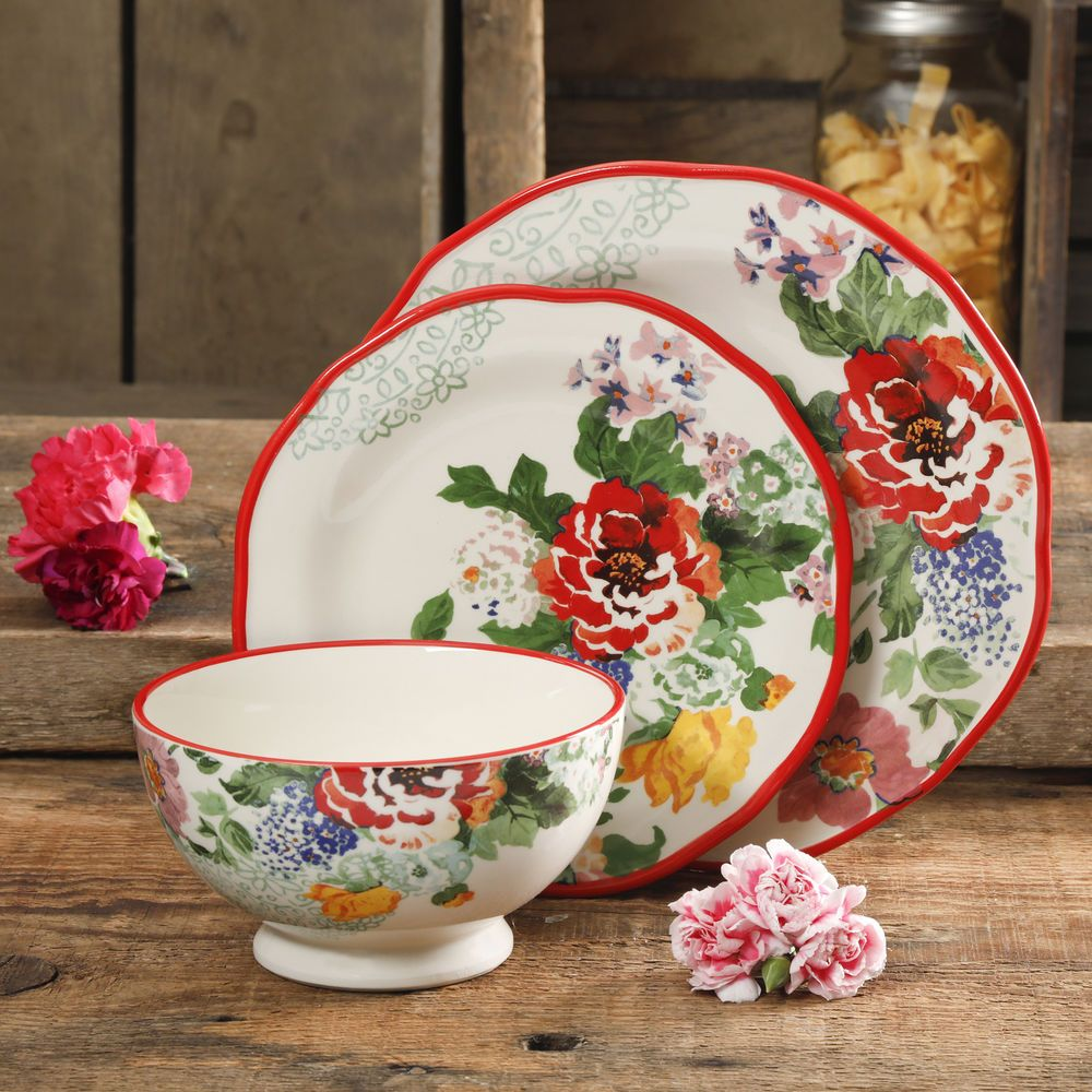 12pc Decorated Dinnerware Set Kitchen Ceramic Floral Plates Bowl