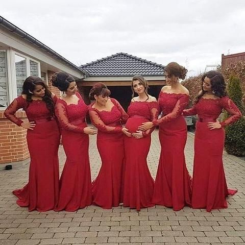 Bridesmaid dresses red lace top