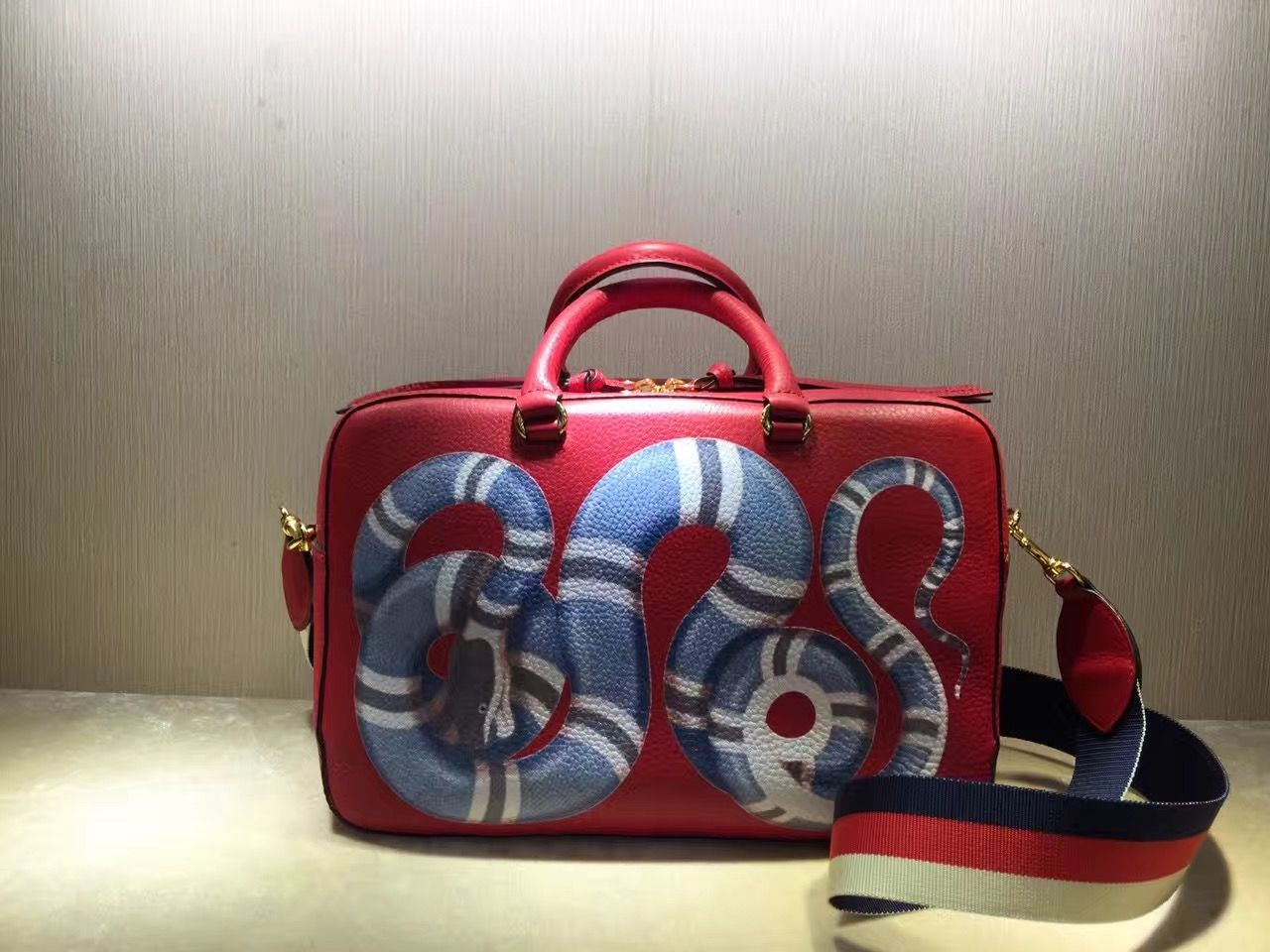 b8d444775eb901 Gucci Snake Print Leather Top Handle Medium Bag 453564 Red 2016 ...