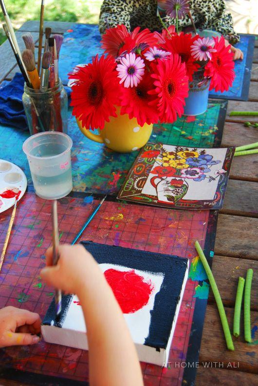 Still life painting for Kids Get Arty. This art project was inspired b Australian artist Margaret Preston