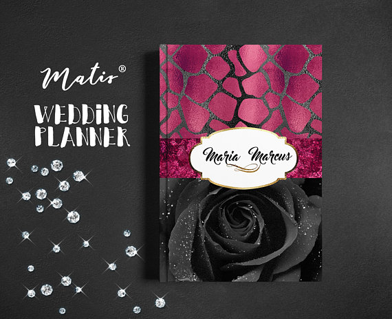 Custom Cover,Wedding Planner Cover,Pink Black Roses
