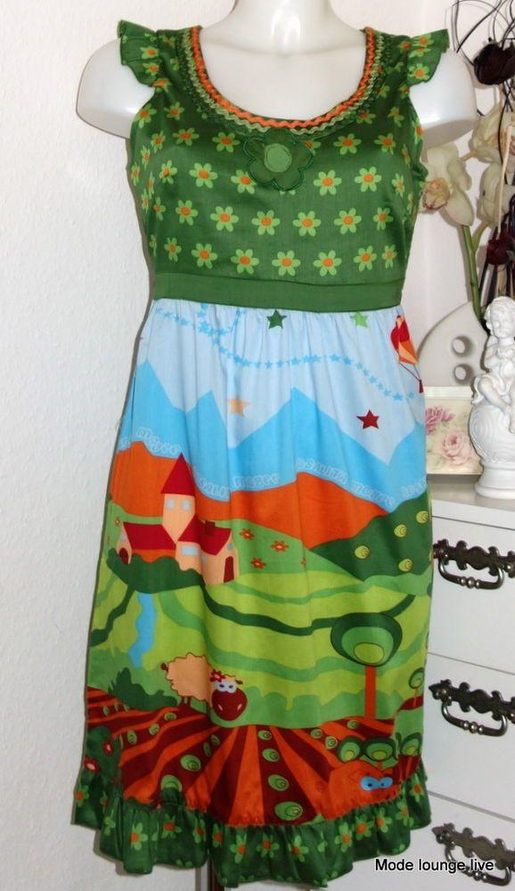 Rosalita Mc Gee Kleid dress Tierra Vestido S M Print Grün Blau Schaf Schwein