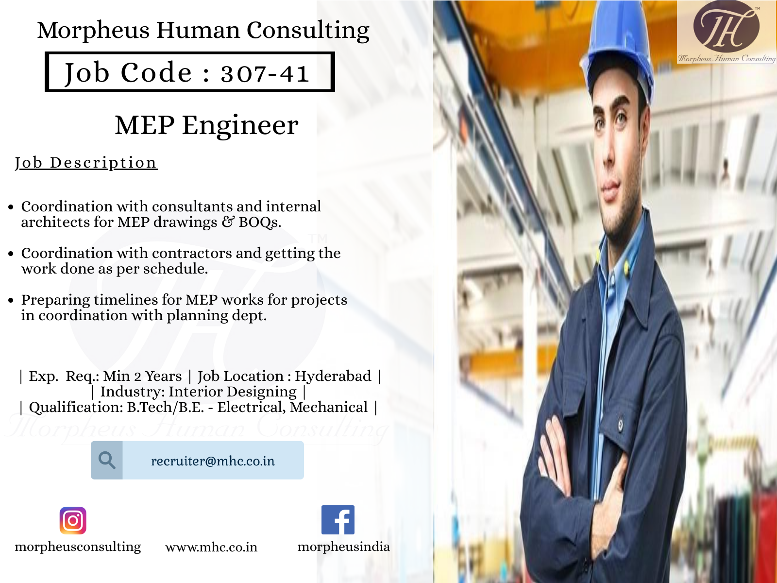 We Are Looking For A Mep Engineer In Hyderabad For A Leading Interior Designing Industry The Ideal Candidate Should Be A B Tech B E Job Opening Job Posting Engineering