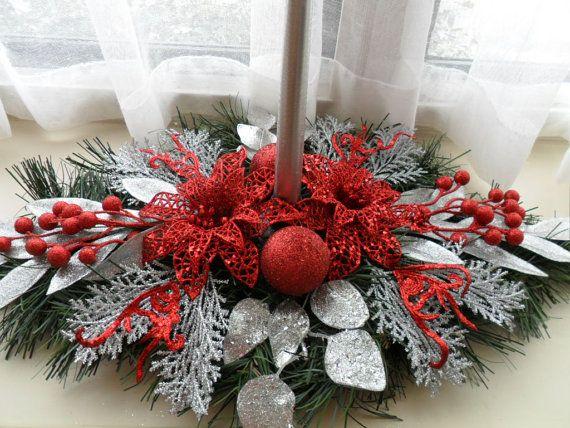 Centro de mesa de Navidad en rojo y plata por ChristmasCraftsShop