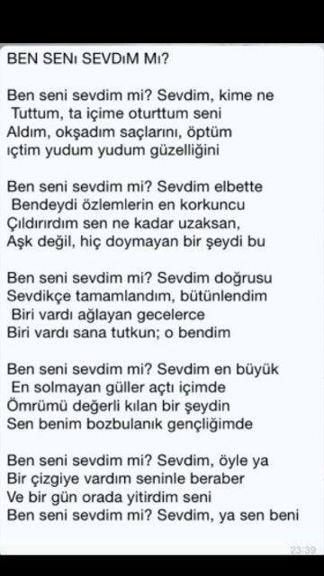 Ben Seni Sevdim Mi Sevdim ümit Yaşar Oğuzcan Poetry şiir Sweet