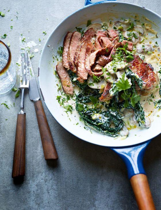 Steak With Creamy Cavolo Nero And Mushrooms Recipe Recipes Food Lean Meals