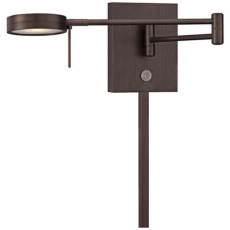 George Kovacs Round Head Led Bronze Swing Arm Wall Lamp