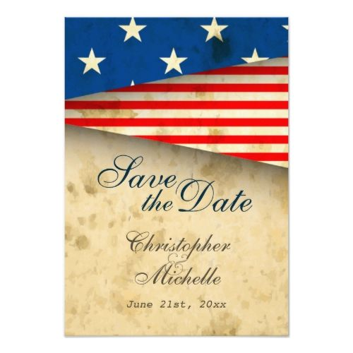 Military Wedding RSVP Cards Patriotic US Flag Vintage Wedding Save The Date  Card