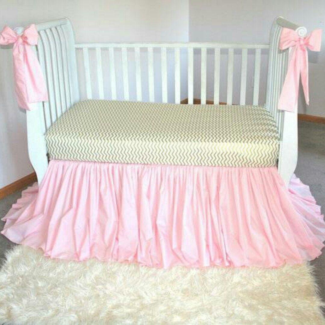 Crib Skirt, Pink Crib Skirt, Baby Girl Nursery, Baby