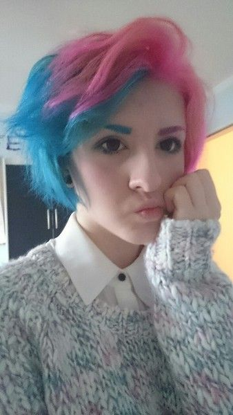 Pin By To Ti On Hair Cotton Candy Hair Split Dyed Hair Hair Styles