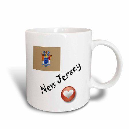 3dRose I Love New Jersey, Ceramic Mug, 11-ounce