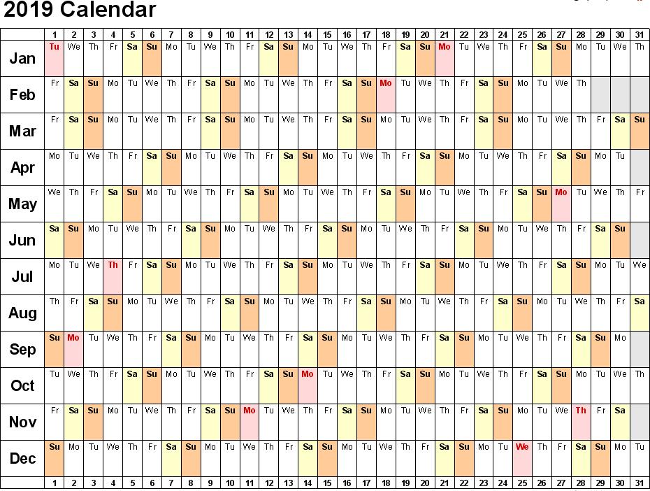 google docs calendar template 2019