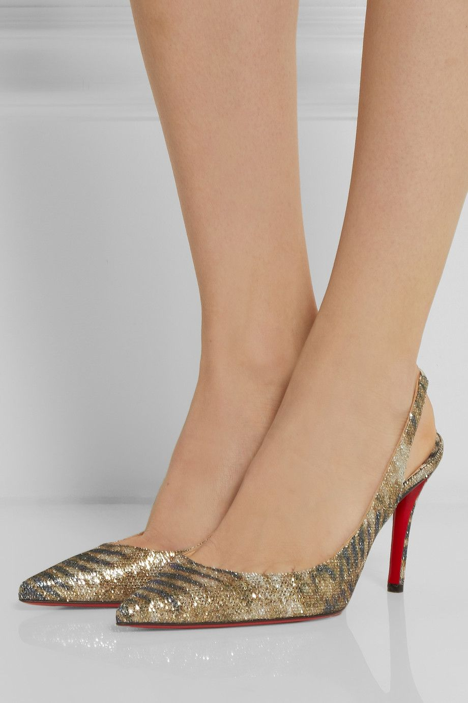 christian louboutin apostrophy 85 printed glitter finished leather slingback pumps