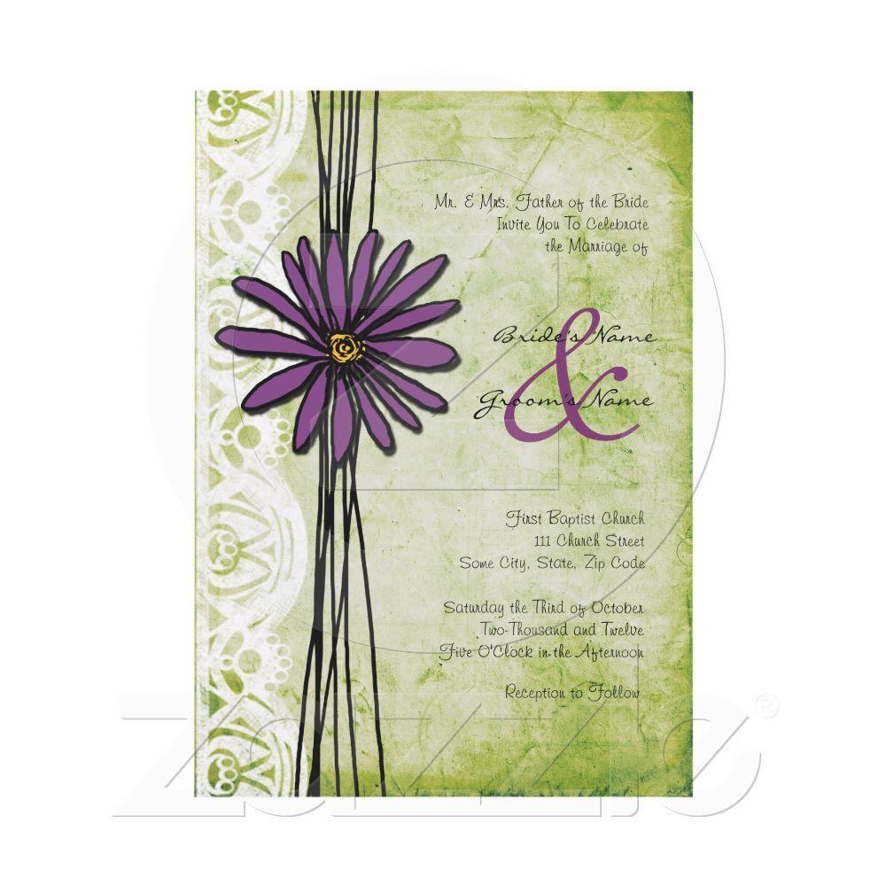 Vintage Purple and Green Daisy Wedding Invitations | Daisy wedding ...