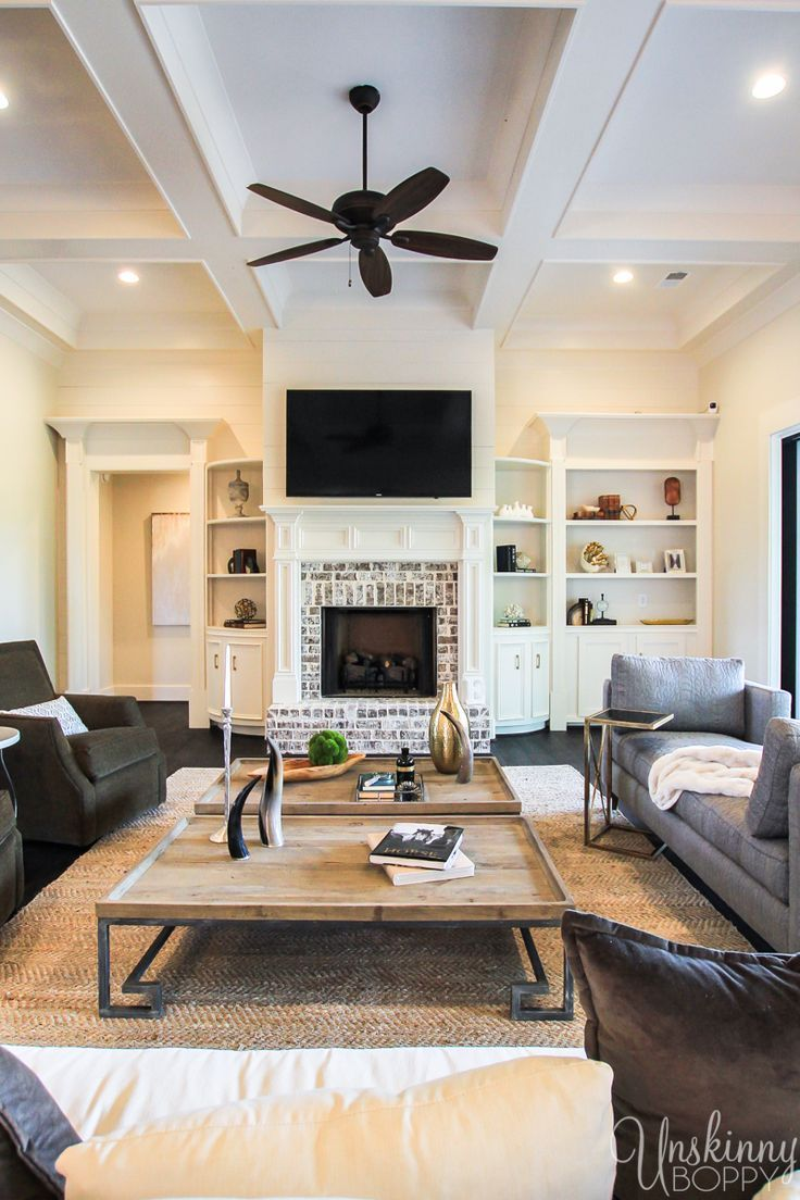Modern Farmhouse Living Room with gorgeous coffered ...