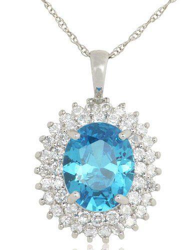 10k White Gold 4.31 carat Swiss Blue Topaz Cubic Zirconia Heirloom Pendant Joolwe. $199.99. Save 59% Off!