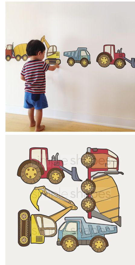 Construction Vehicles Fabric Peel And Stick Decals   Wall Sticker Outlet