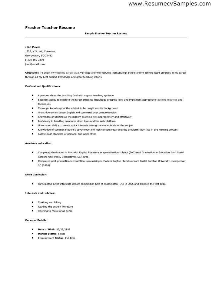 teaching resume examples sample fresher teacher sample fresher