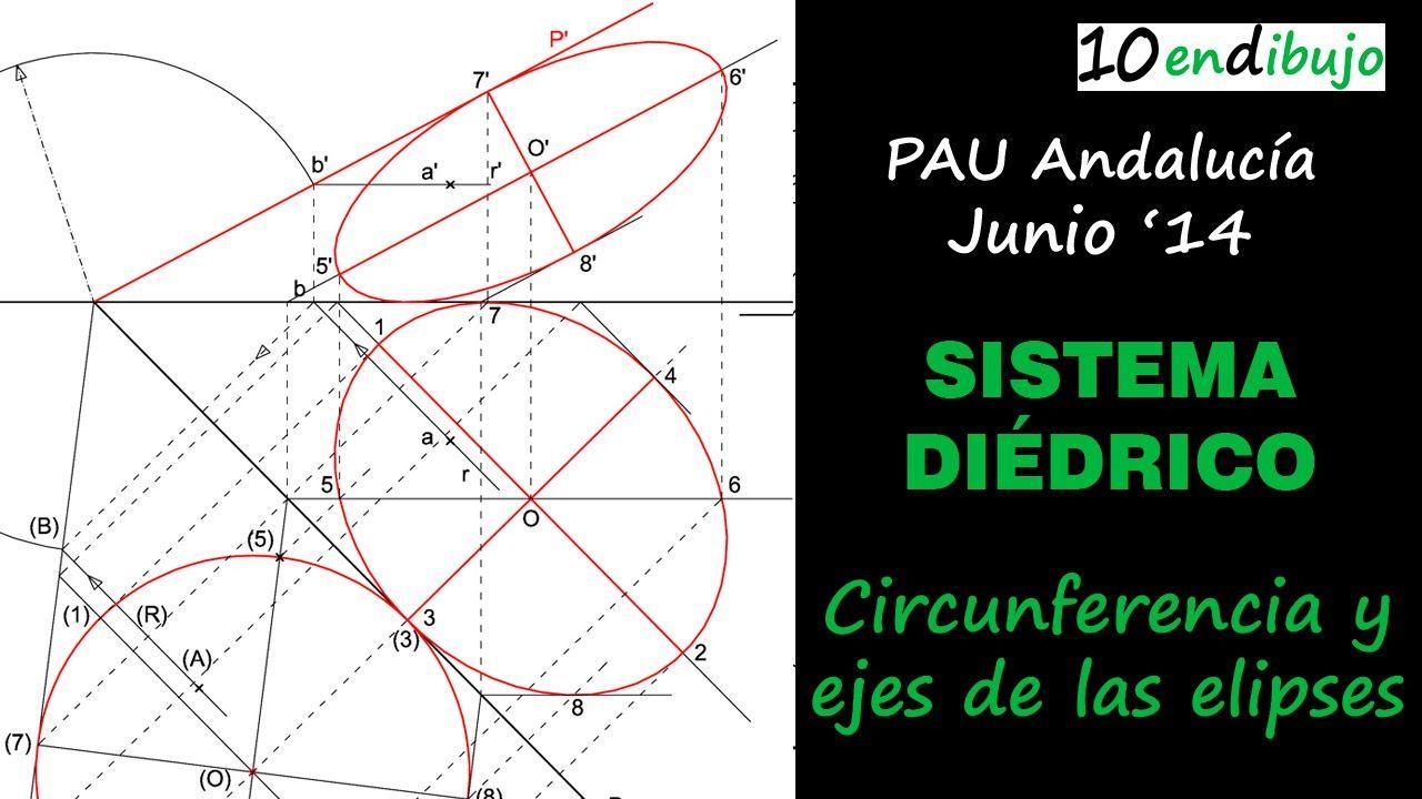 Dibujar una Circunferencia en Sistema Diédrico. PAU de Andalucía, junio ...