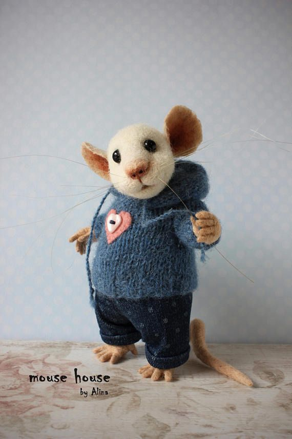 Mouse in Jeans, Needle Felted Mouse, Collectible Doll, Soft ...
