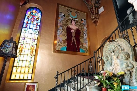 Is that a classic portrait of Mary McDonald? Oh no, it's just part of the gothic design of The Cedars home in Los Angeles, California.