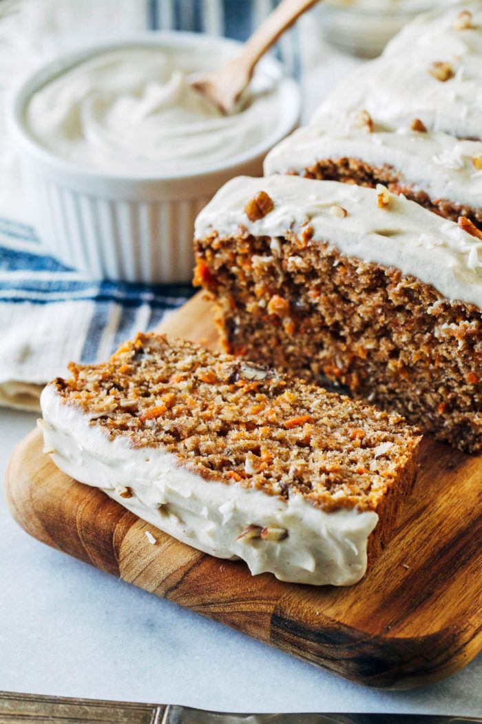 Vegan Banana Carrot Bread with Cashew Cream Cheese Icing - Making Thyme for Health
