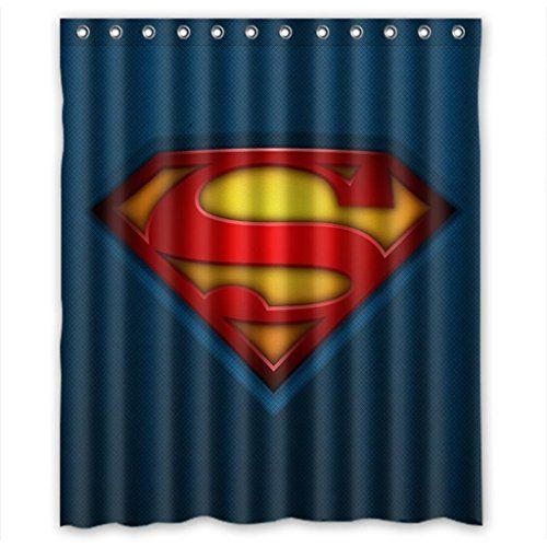 Superman Bathroom Decor: Custom Superman Logo Waterproof Polyester Fabric Bathroom