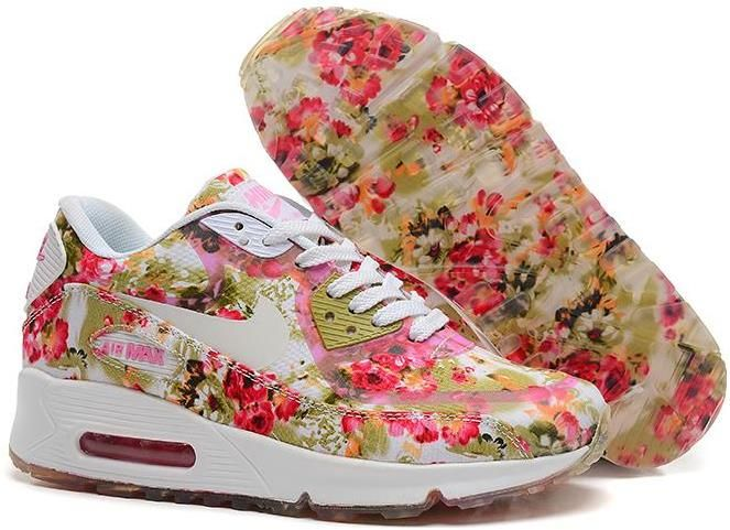 2c8115f1d7 Nike Air Max 90 Floral Print Womens Peachblow Wild Rose Training Shoes