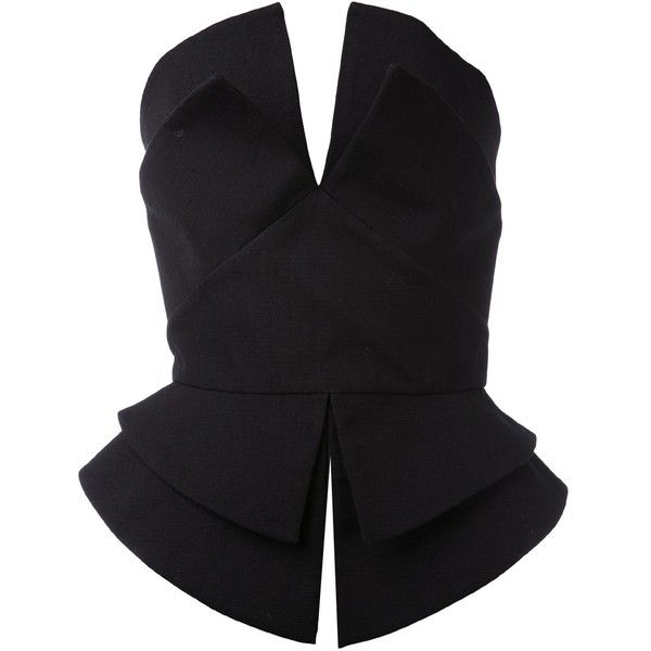 Martin Grant Structured Bustier Top ($399) ❤ liked on Polyvore featuring tops, bustier, shirts, blouses, peplum, strapless bustier top, black top, v-neck tops, black strapless shirt and black peplum top