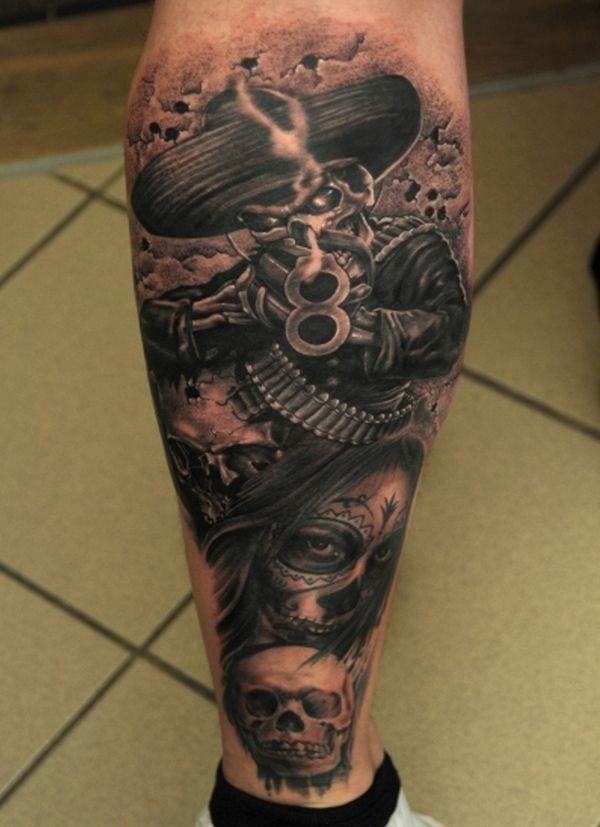 Mexican Style Tattoos Leg Tattoo Men Mexican Tattoo Soldier Tattoo