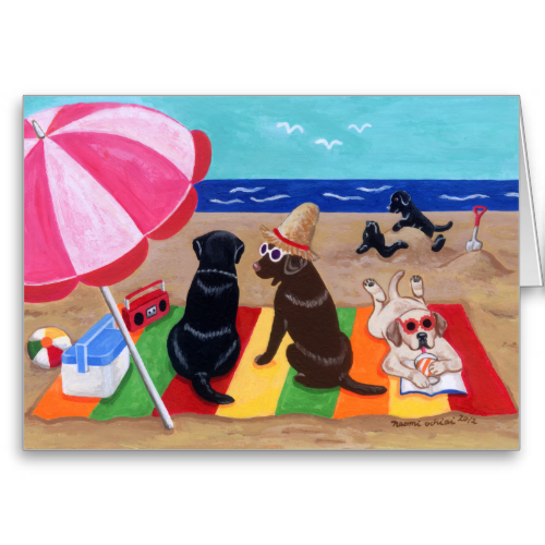 Funny Labrador Retriever on the beach Painting design. Black Labrador and Chocolate Labrador and Yellow Labrador are all painted in the picture. Happy and cute Labrador Retriever dogs are having lots of fun on the beach. Colorful and cheery summer scenery with Labs. Painted by Naomi Ochiai from Japan. Labrador gifts for dog lovers who love Labrador Retriever. Great fun gifts for yourself, too. You can customize text as you like. Remove sample text and insert yours. Labrador Retriever Art ...