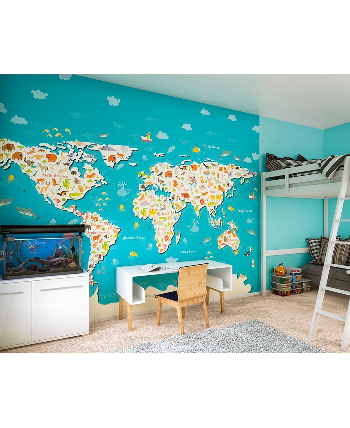 Animals Of The World Map Wall Mural World Map Wallpaper Nursery