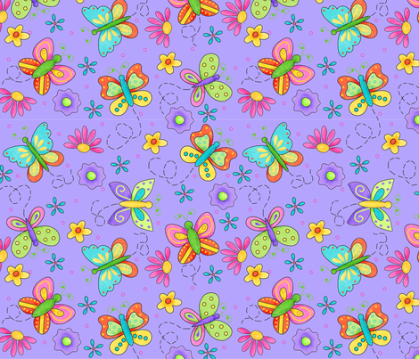 Fabric by the Yard Butterfly Garden Whimsy Periwinkle Purple Large