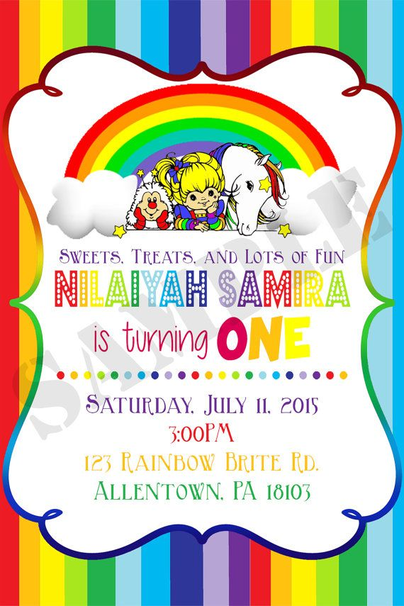 Rainbow Brite Digital Birthday Invitation Thepurplemonkeyshop Jpg 570x855 Font