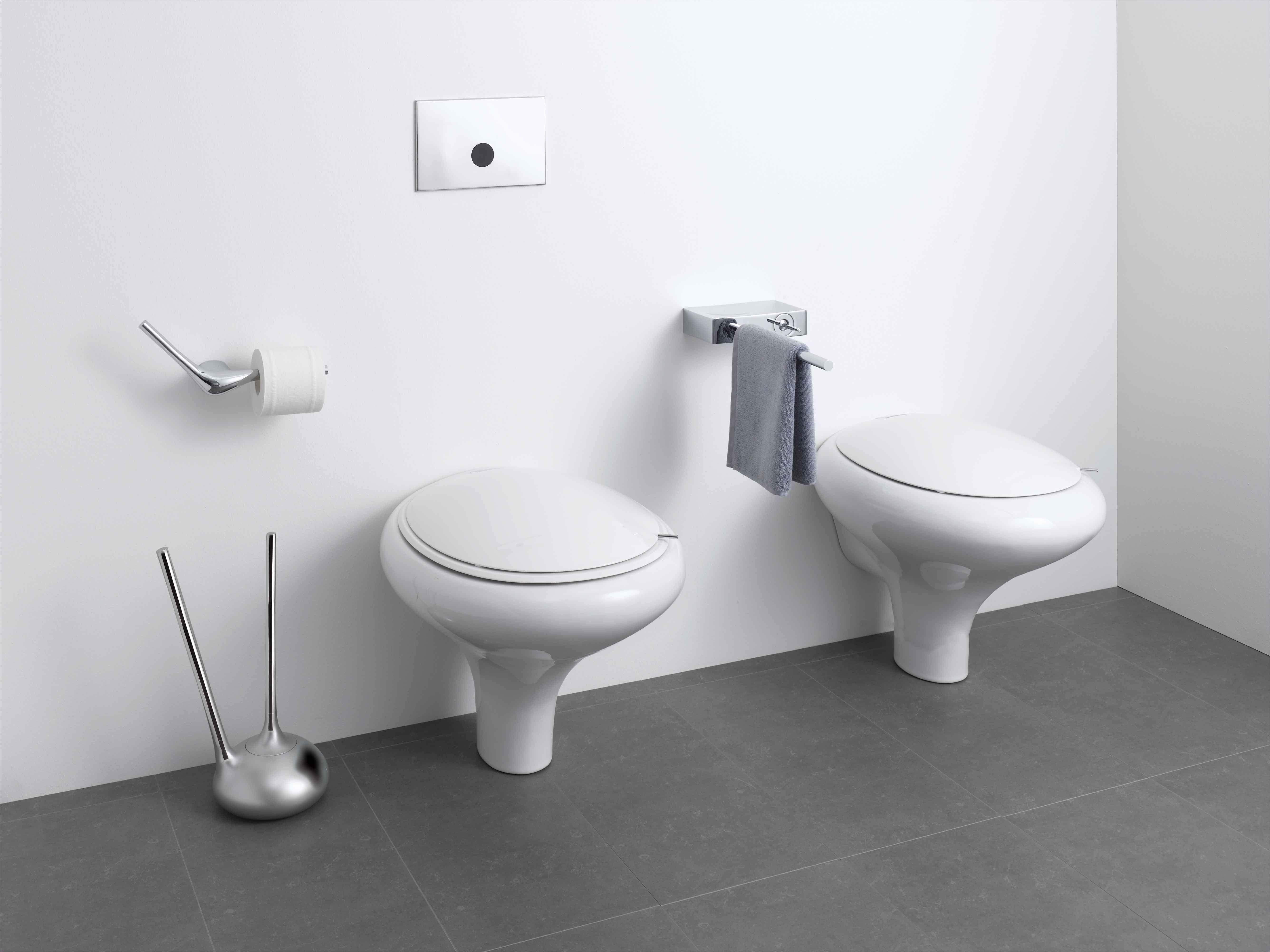 Wallhung WC Pan White  Toilet Seat Soft - White toilet with black seat
