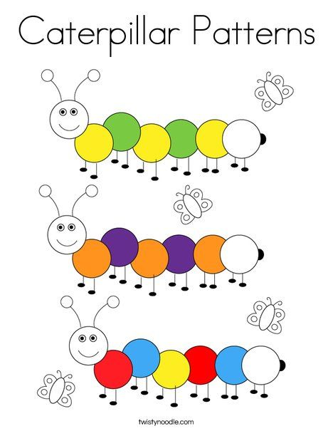 Caterpillar Patterns Coloring Page - Twisty Noodle in 2020 ...