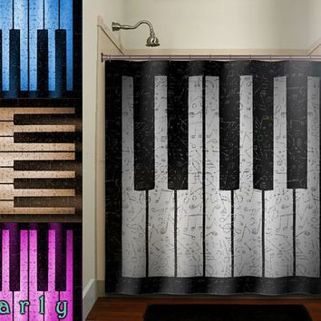 Antique Sheet Music Treble Clef Note Piano Shower Curtain Bathroom Decor  Fabric Kids Bath White Black