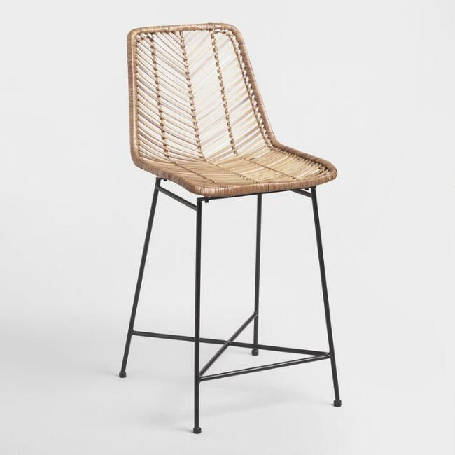 Natural Wicker Is Woven And Contoured Into A Molded Seat Creating A Comfy And Chic Statement For Your Dining Room Or Ki Wicker Bar Stools Counter Stools Stool