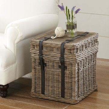 Jenkins Rattan Side Table   Leather strap details give this side table a hardy, casual look that can be styled to fit a variety of decor.