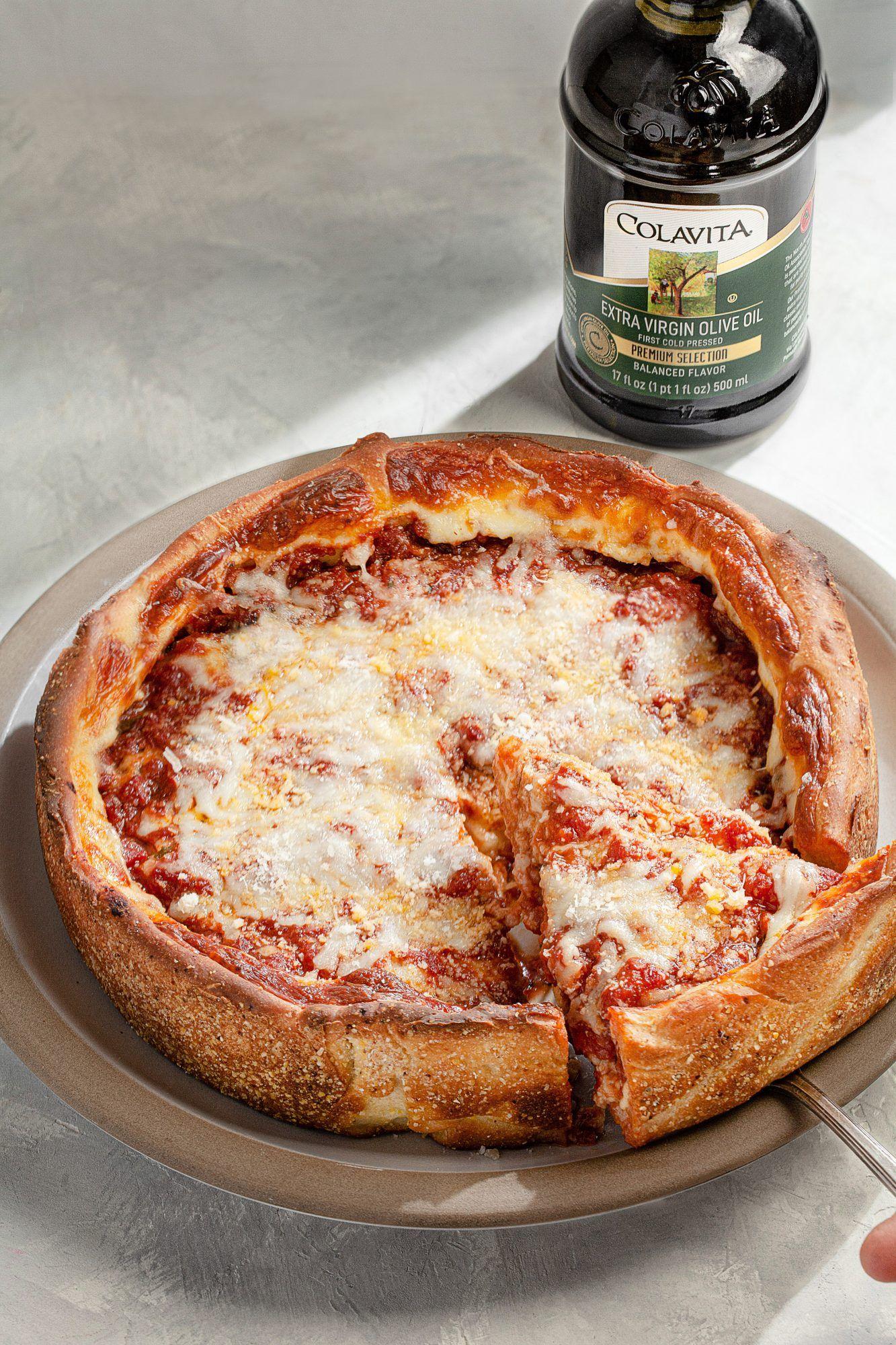 Deep Dish Chicago Pizza Colavita Recipes Recipe Deep Dish Pizza Recipes Chicago Deep Dish Pizza