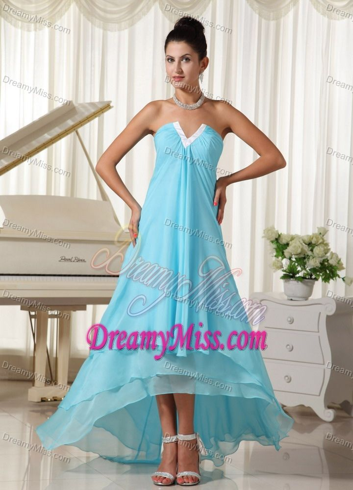 Lovely Natural Waist Chiffon Prom Dresses High-low in Baby Blue in Low Price