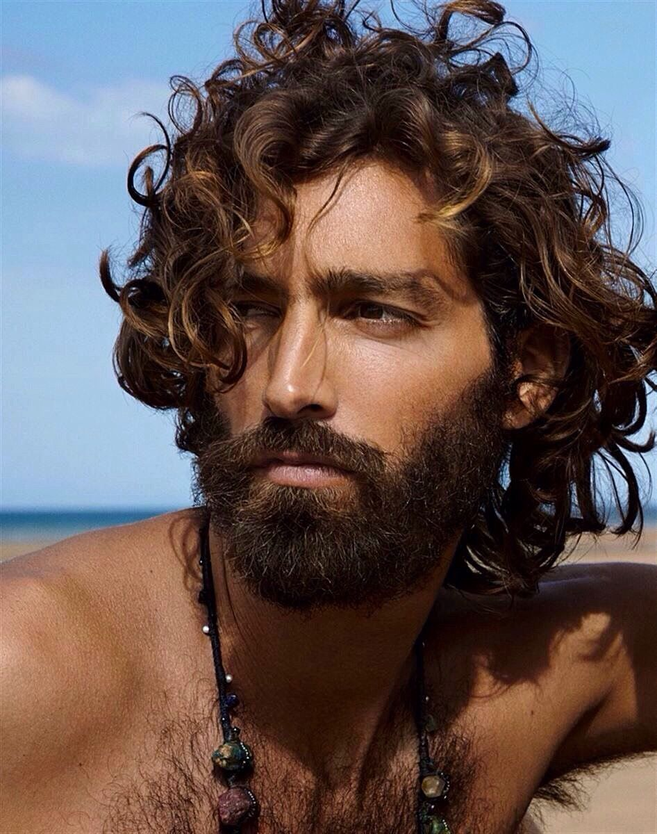 Divine Curly Long Hair Bearded Shirtless Hairy Chest Curly Hair Men Long Hair Beard Long Hair Styles