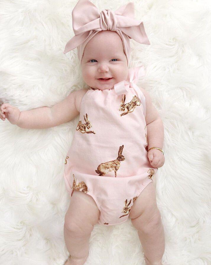01a9e0b593e Bonito Da Criança Do Bebê Recém-nascido Roupas de Menina Rosa Coelho  Macacão Roupas Romper + Headband Do Bebê Meninas Verão roupas