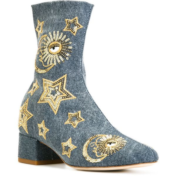 Chiara Ferragni sequin stars boots ($691) ❤ liked on Polyvore featuring shoes, boots, chiara ferragni shoes, leather shoes, star shoes, sequin shoes and sequin boots