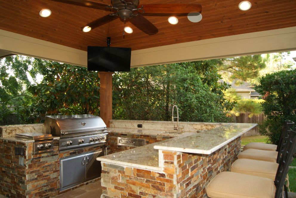Freestanding Patio Cover With Kitchen Fireplace In The Woodlands Kitchen Fireplace Brick Kitchen Patio Design